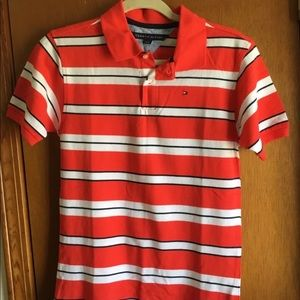 Tommy Hilfiger Boys Red Striped Polo Shirt